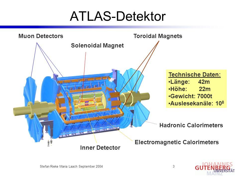 Stefan Rieke Maria Laach September 20043 ATLAS-Detektor Muon Detectors Solenoidal Magnet Inner Detector Electromagnetic Calorimeters Hadronic Calorime