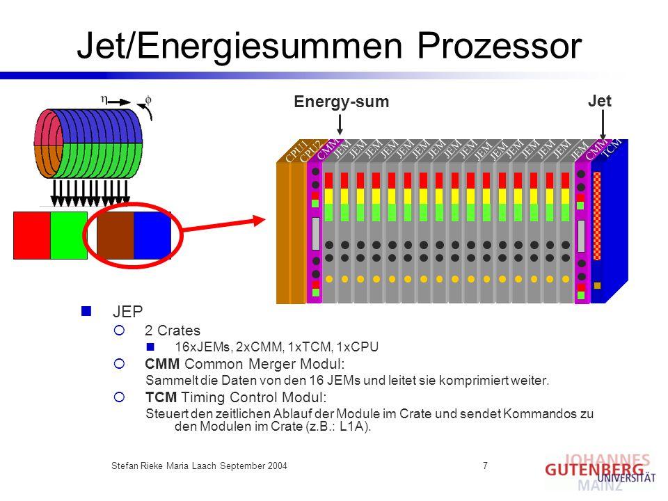 Stefan Rieke Maria Laach September 20047 Jet/Energiesummen Prozessor Energy-sum Jet JEP 2 Crates 16xJEMs, 2xCMM, 1xTCM, 1xCPU CMM Common Merger Modul: