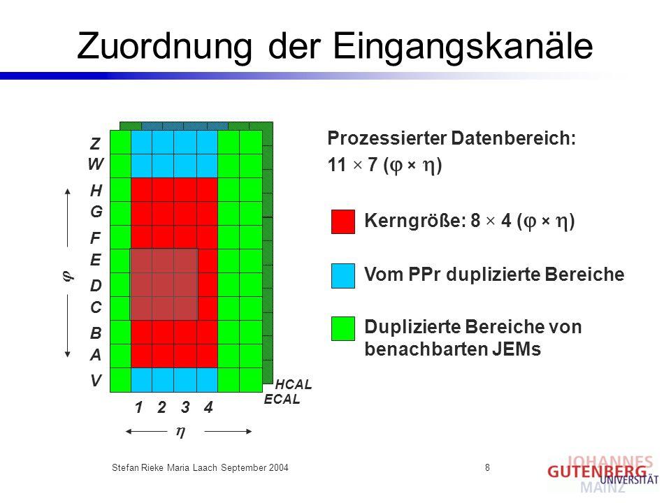 Stefan Rieke Maria Laach September 20048 Zuordnung der Eingangskanäle HCAL ECAL Z W H G F E D C B A V 1 2 3 4 Prozessierter Datenbereich: 11 × 7 ( × )
