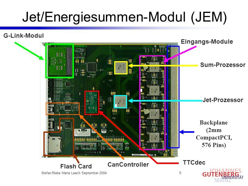 Stefan Rieke Maria Laach September 20049 Jet/Energiesummen-Modul (JEM) Eingangs-Module Backplane (2mm CompactPCI, 576 Pins) Jet-Prozessor Sum-Prozesso