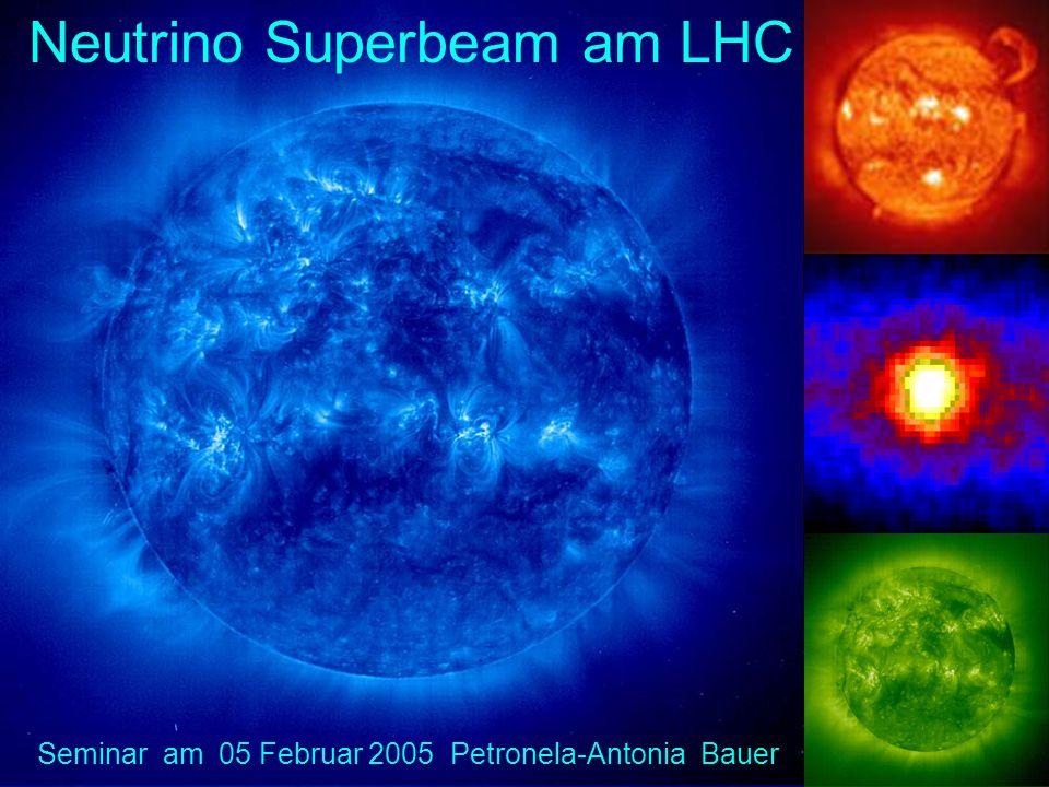 V e -Dissapearance ObservationBaselineLocationRun BugeyNo oscillation 15 m, 40 m, 95 m France 1981-1994 Chooz O/E=0.98 ± 0.4 ± 0.4 1 km France 1997-1998 KamLAND O/E= 0.611 ± 0.085 ± 0.041 180 km Japan 2001- Paolo Verde O/E= 1.04 ± 0.03 ± 0.08 750 m USA 1998-200 V e -Apearance LSND V e 18 ± 7 V e 40 ± 9 30 m USA Los Alamos 1994-1998 KarmenNo oscillation 18 m UK 1994-2001 NomadNo oscillation 820 m Schweiz CERN 1995-1998 E776No oscillation 1 km USA BNL 1985-1996 V -Dissapearance K2KData taking 250 km Japan Kamioka 1999- V -Apearance ChorusNo oscillation 850 m Schweiz CERN 1994-1997 NomadNo oscillation 820 m Schweiz CERN 1995-1998 Neutrino-Experimente