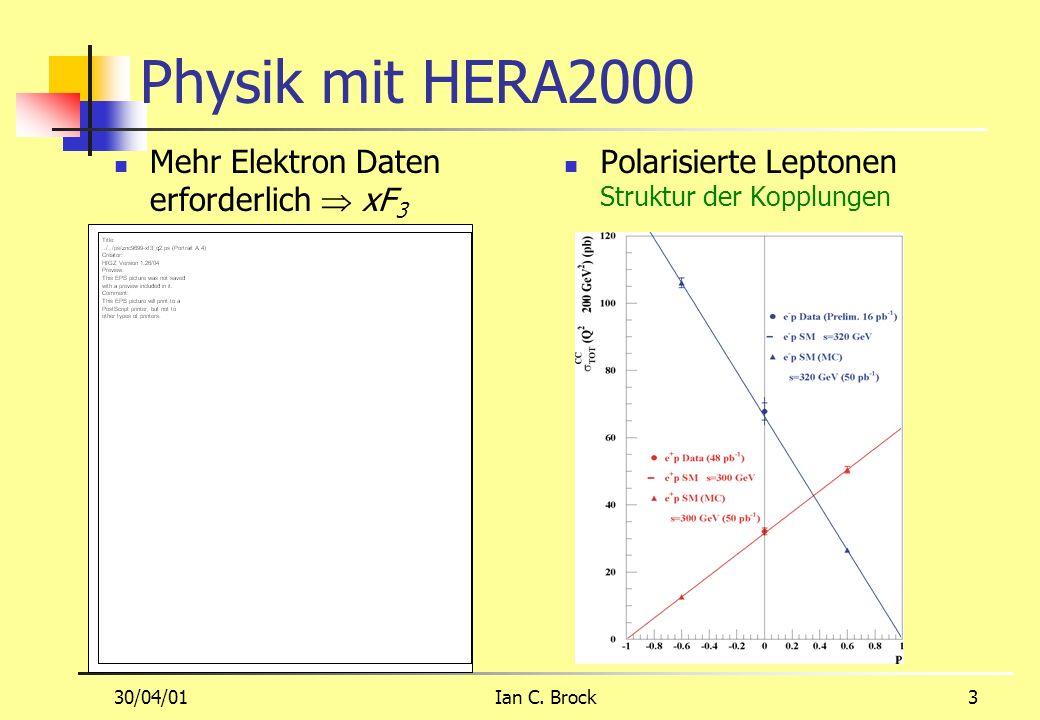 30/04/01Ian C. Brock3 Physik mit HERA2000 Polarisierte Leptonen Struktur der Kopplungen Mehr Elektron Daten erforderlich xF 3