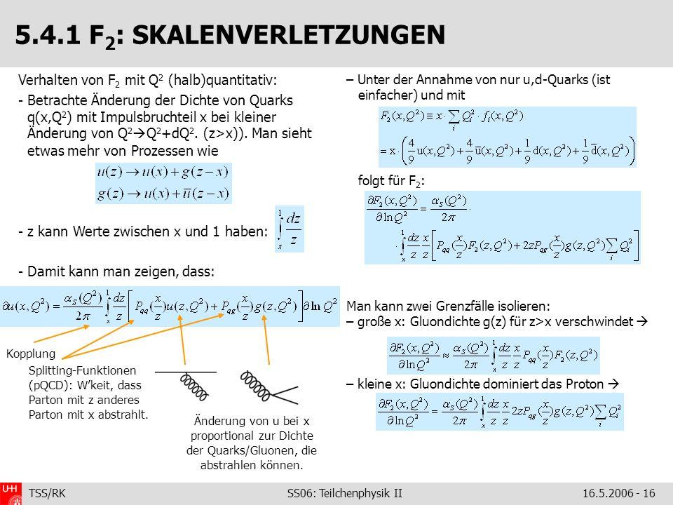 TSS/RK SS06: Teilchenphysik II16.5.2006 - 16 5.4.1 F 2 : SKALENVERLETZUNGEN – Unter der Annahme von nur u,d-Quarks (ist einfacher) und mit folgt für F 2 : Man kann zwei Grenzfälle isolieren: – große x: Gluondichte g(z) für z>x verschwindet – kleine x: Gluondichte dominiert das Proton Kopplung Splitting-Funktionen (pQCD): Wkeit, dass Parton mit z anderes Parton mit x abstrahlt.
