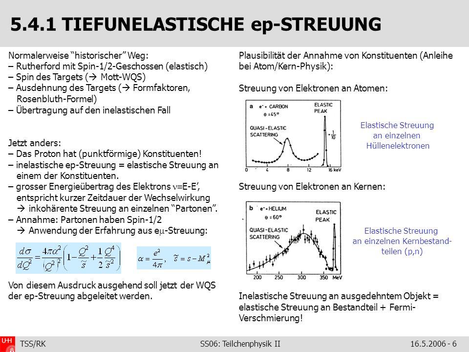 TSS/RK SS06: Teilchenphysik II16.5.2006 - 6 5.4.1 TIEFUNELASTISCHE ep-STREUUNG Normalerweise historischer Weg: – Rutherford mit Spin-1/2-Geschossen (elastisch) – Spin des Targets ( Mott-WQS) – Ausdehnung des Targets ( Formfaktoren, Rosenbluth-Formel) – Übertragung auf den inelastischen Fall Jetzt anders: – Das Proton hat (punktförmige) Konstituenten.