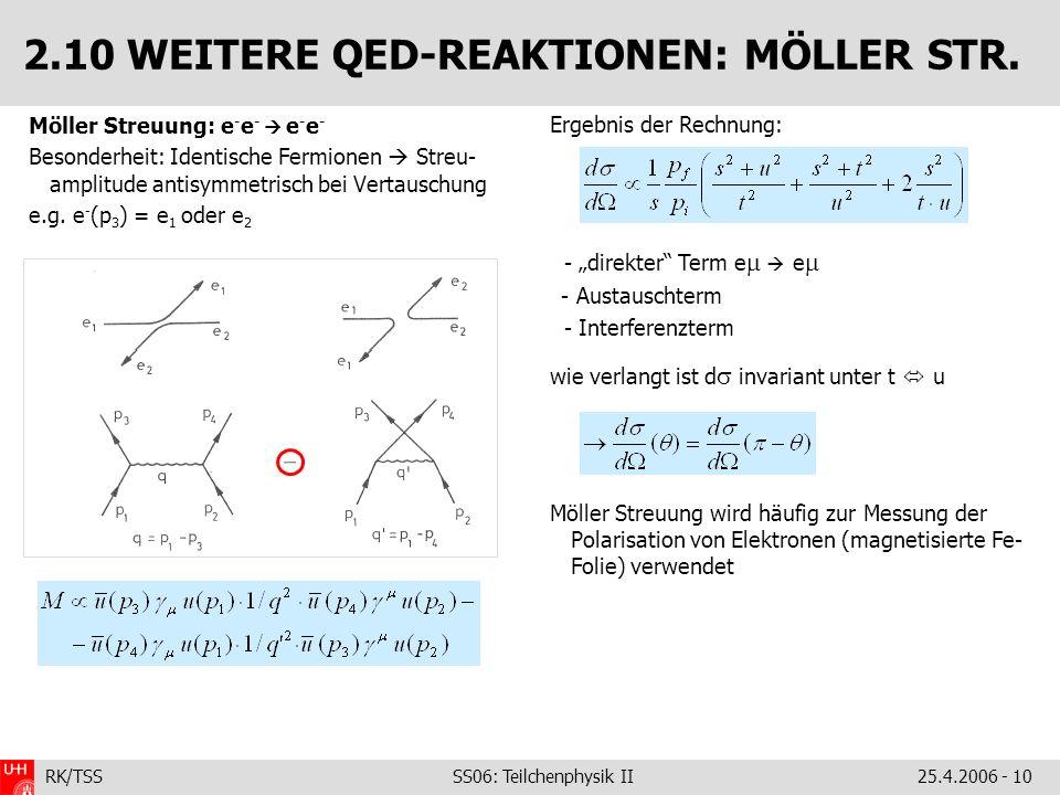 RK/TSS SS06: Teilchenphysik II25.4.2006 - 10 2.10 WEITERE QED-REAKTIONEN: MÖLLER STR. Möller Streuung: e - e - e - e - Besonderheit: Identische Fermio