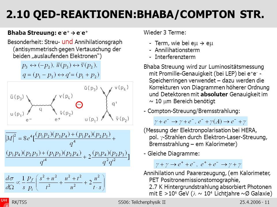 RK/TSS SS06: Teilchenphysik II25.4.2006 - 11 2.10 QED-REAKTIONEN:BHABA/COMPTON STR. Bhaba Streuung: e - e + e - e + Besonderheit: Streu- und Annihilat