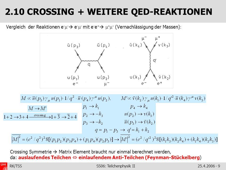 RK/TSS SS06: Teilchenphysik II25.4.2006 - 9 2.10 CROSSING + WEITERE QED-REAKTIONEN Vergleich der Reaktionen e - - e - - mit e - e + (Vernachlässigung