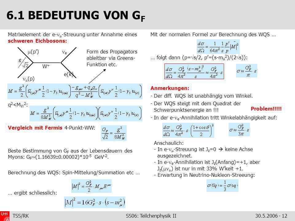 TSS/RK SS06: Teilchenphysik II30.5.2006 - 12 Matrixelement der e- -Streuung unter Annahme eines schweren Eichbosons: q 2 <M W 2 : Vergleich mit Fermis