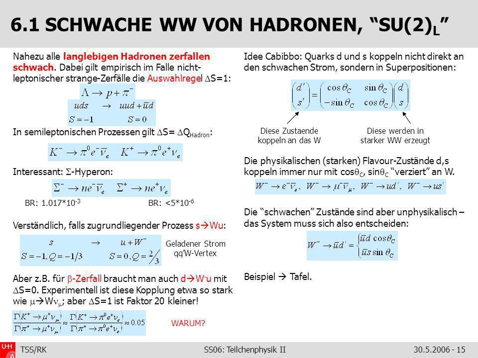 TSS/RK SS06: Teilchenphysik II30.5.2006 - 15 Nahezu alle langlebigen Hadronen zerfallen schwach. Dabei gilt empirisch im Falle nicht- leptonischer str