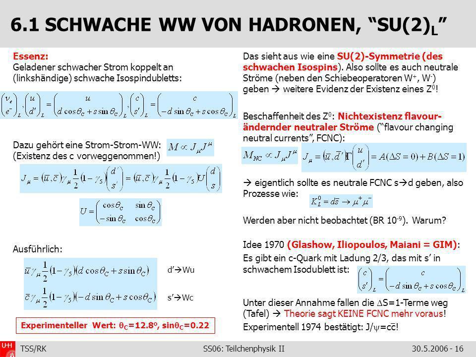 TSS/RK SS06: Teilchenphysik II30.5.2006 - 16 Essenz: Geladener schwacher Strom koppelt an (linkshändige) schwache Isospindubletts: Dazu gehört eine St