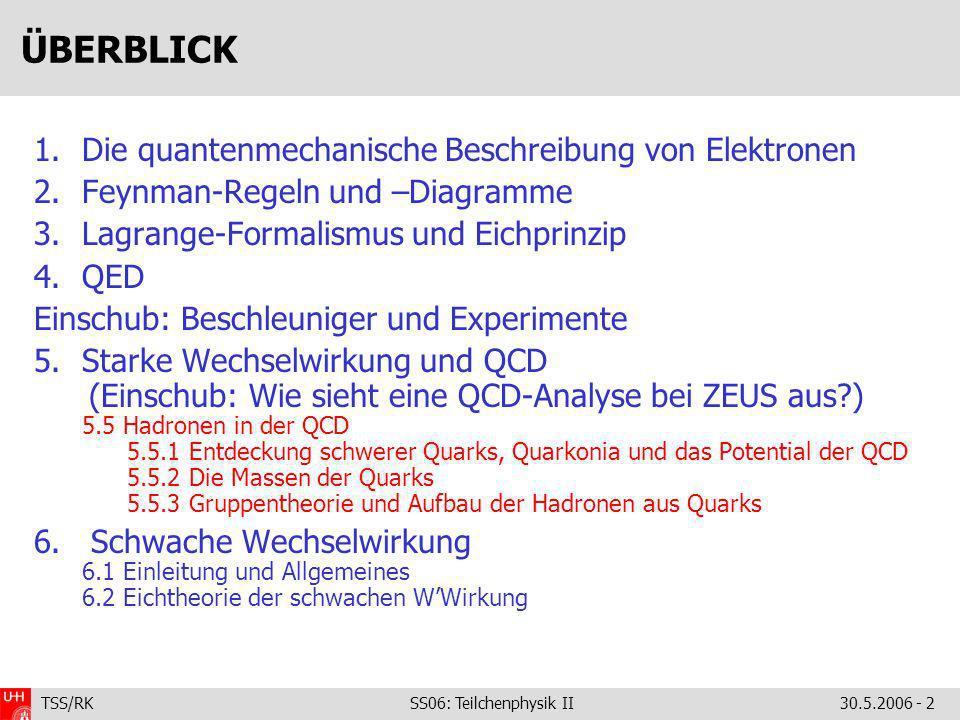 TSS/RK SS06: Teilchenphysik II30.5.2006 - 2 ÜBERBLICK 1.Die quantenmechanische Beschreibung von Elektronen 2.Feynman-Regeln und –Diagramme 3.Lagrange-