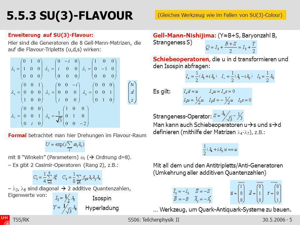 TSS/RK SS06: Teilchenphysik II30.5.2006 - 5 Erweiterung auf SU(3)-Flavour: Hier sind die Generatoren die 8 Gell-Mann-Matrizen, die auf die Flavour-Tri