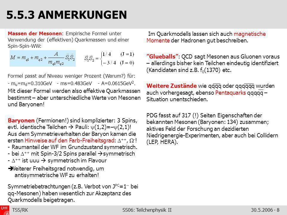 TSS/RK SS06: Teilchenphysik II30.5.2006 - 8 Massen der Mesonen: Empirische Formel unter Verwendung der (effektiven) Quarkmassen und einer Spin-Spin-WW