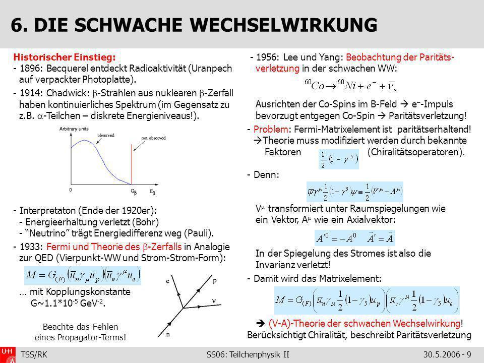 TSS/RK SS06: Teilchenphysik II30.5.2006 - 9 Historischer Einstieg: - 1896: Becquerel entdeckt Radioaktivität (Uranpech auf verpackter Photoplatte). -