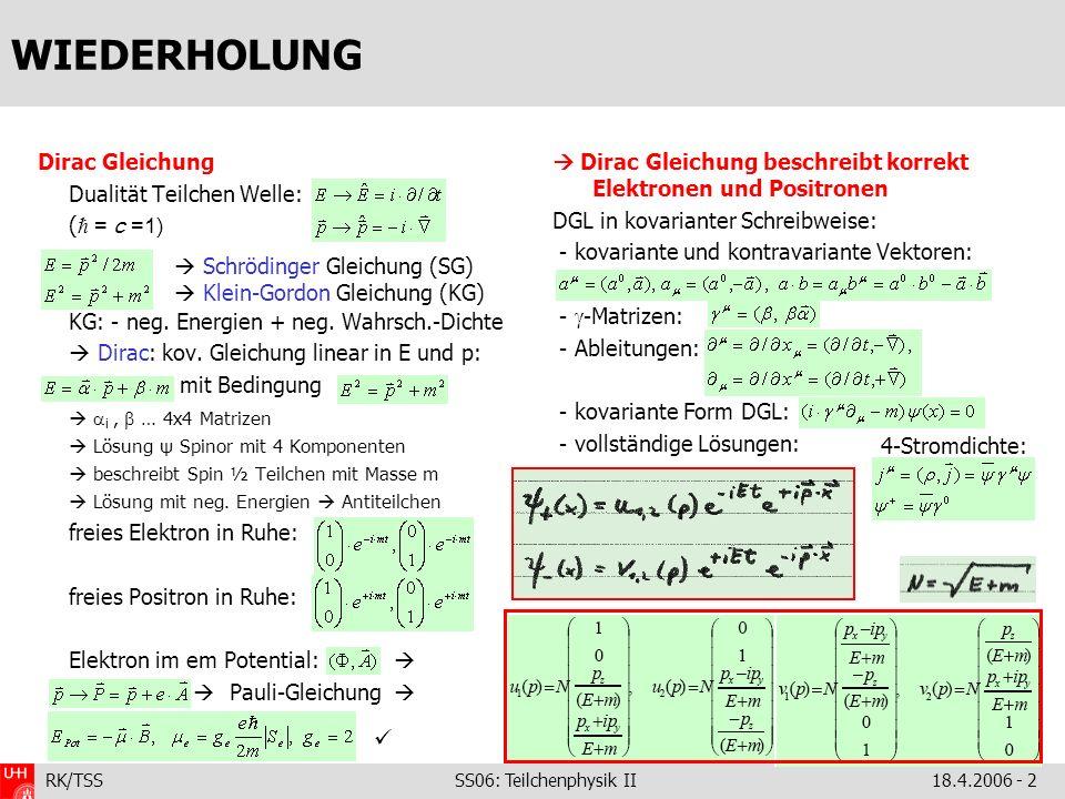 RK/TSS SS06: Teilchenphysik II18.4.2006 - 3 DIE LÖSUNGEN NEGATIVER ENERGIE anschauliche Erläuterung: Streuung geladener (punktf!) -Mesonen an Potential V(t) + -Streuung mit + absorbiert Photon der Energie - -Streuung einlaufend - mit E 1 >0 = ausl.
