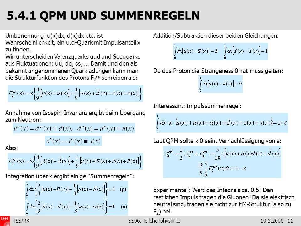 TSS/RK SS06: Teilchenphysik II19.5.2006 - 11 Umbenennung: u(x)dx, d(x)dx etc. ist Wahrscheinlichkeit, ein u,d-Quark mit Impulsanteil x zu finden. Wir