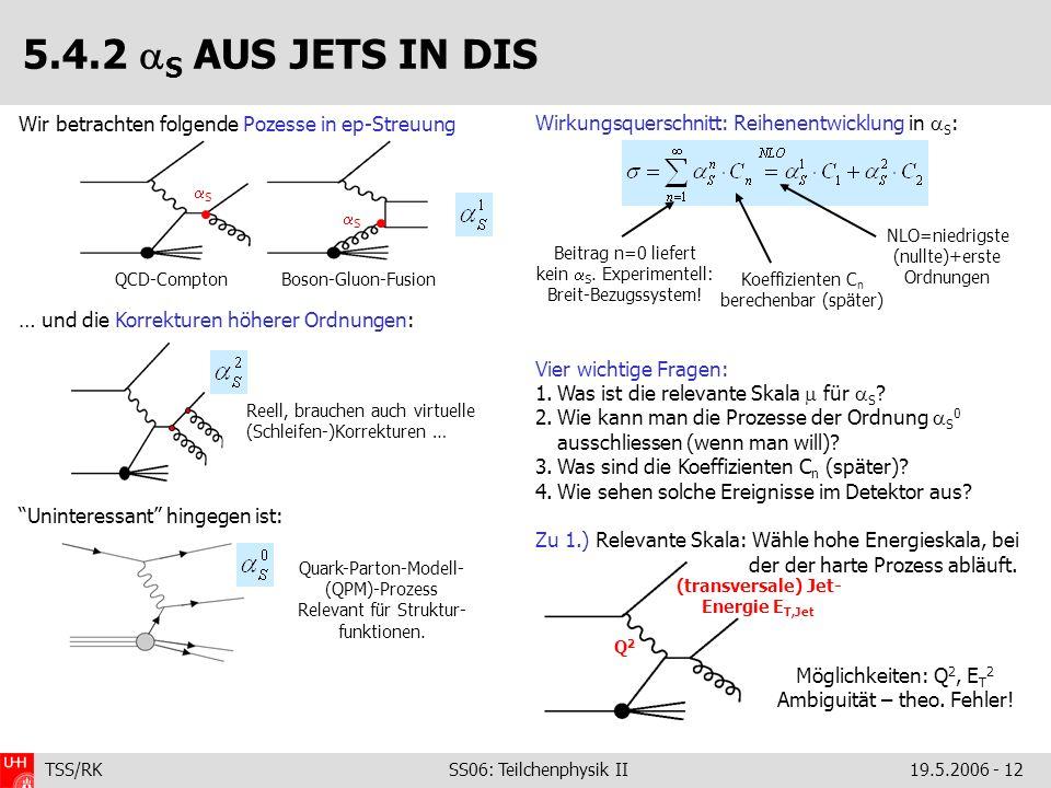 TSS/RK SS06: Teilchenphysik II19.5.2006 - 12 5.4.2 S AUS JETS IN DIS Wir betrachten folgende Pozesse in ep-Streuung … und die Korrekturen höherer Ordn