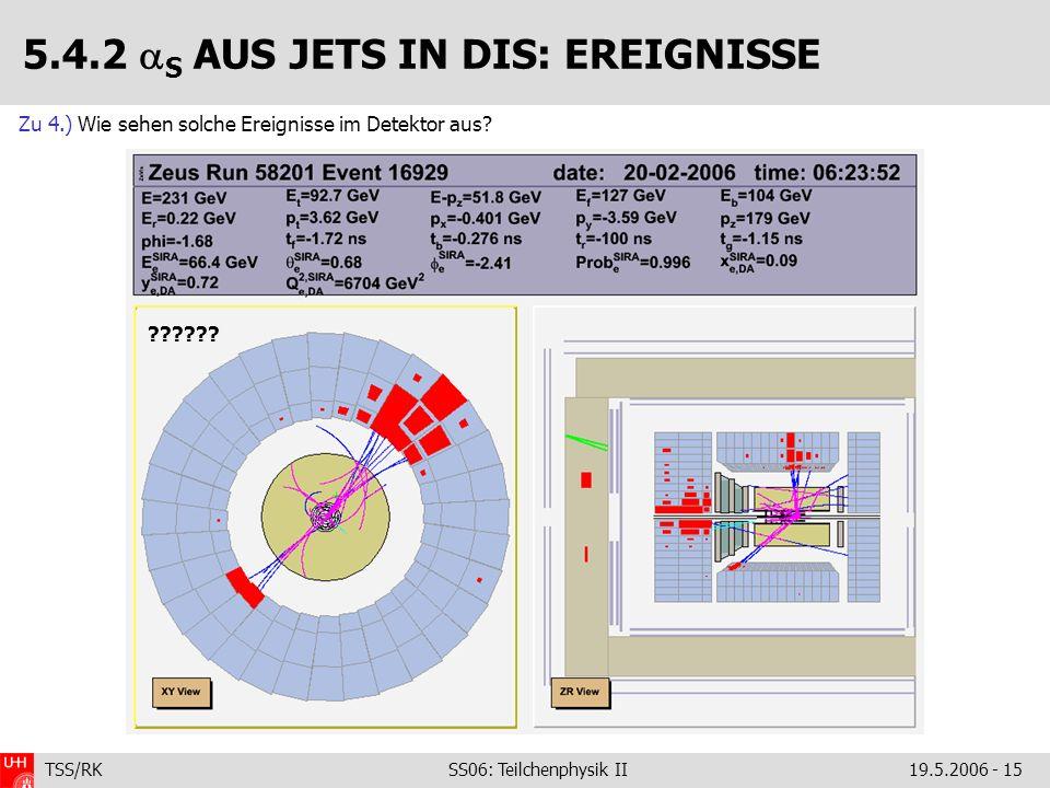 TSS/RK SS06: Teilchenphysik II19.5.2006 - 15 Zu 4.) Wie sehen solche Ereignisse im Detektor aus? 5.4.2 S AUS JETS IN DIS: EREIGNISSE ??????
