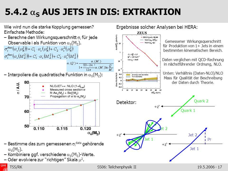 TSS/RK SS06: Teilchenphysik II19.5.2006 - 17 Ergebnisse solcher Analysen bei HERA: Detektor: Wie wird nun die starke Kopplung gemessen? Einfachste Met