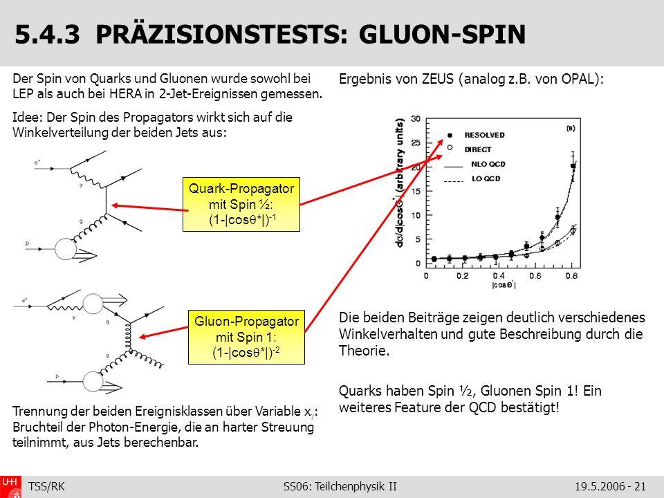 TSS/RK SS06: Teilchenphysik II19.5.2006 - 21 Der Spin von Quarks und Gluonen wurde sowohl bei LEP als auch bei HERA in 2-Jet-Ereignissen gemessen. Ide