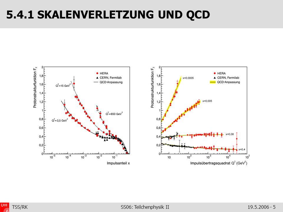 TSS/RK SS06: Teilchenphysik II19.5.2006 - 6 Zur Kinematik der ep-Streeung … … kriegen Sie eine kleine Aufgabe … 5.4.1 F 2 : VORGEHEN; SKALENVERLETZUNGEN – Unterteile x-Q 2 -Ebene in vernünftige Bins: – Merke, dass bei kleinen y: – Also: Zählen.