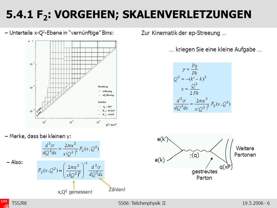 TSS/RK SS06: Teilchenphysik II19.5.2006 - 7 5.4.1 F 2 : SKALENVERLETZUNGEN – Unter der Annahme von nur u,d-Quarks (ist einfacher) und mit folgt für F 2 : Man kann zwei Grenzfälle isolieren: – große x: Gluondichte g(z) für z>x verschwindet – kleine x: Gluondichte dominiert das Proton Kopplung Splitting-Funktionen (pQCD): Wkeit, dass Parton mit z anderes Parton mit x abstrahlt.