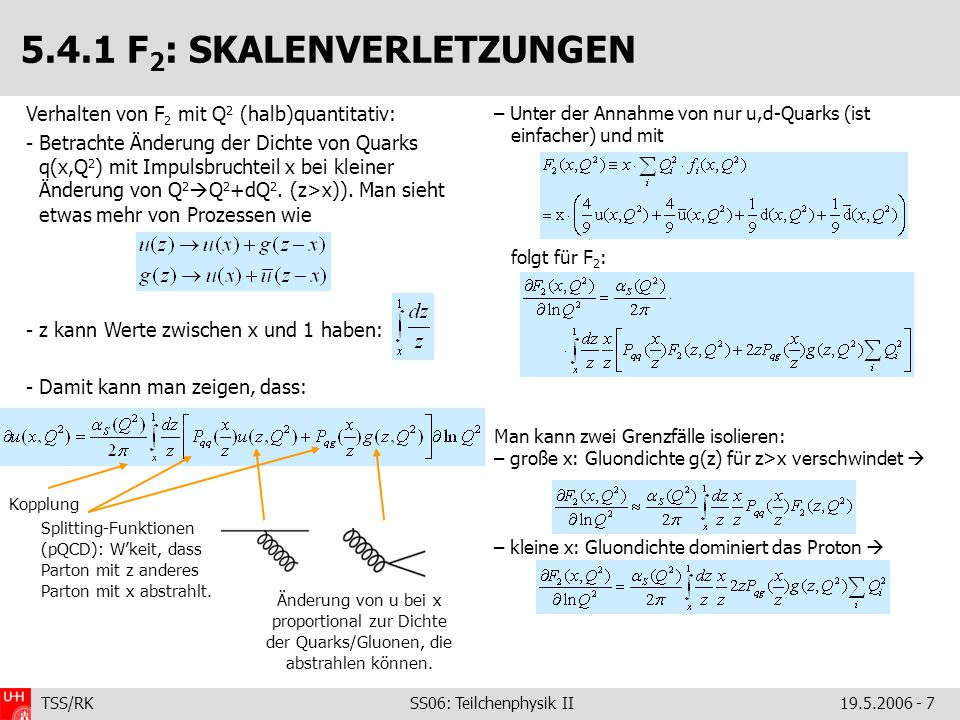 TSS/RK SS06: Teilchenphysik II19.5.2006 - 18 Man sieht also: 1.Die Werte verschiedener HERA-Messungen stimmen gut miteinander überein (Uffff!) 2.Die Energieabhängigkeit wird gut von der Theorie (QCD in NLO) beschrieben: Resultierende S (M Z )-Werte und ihre Kombination: Evolviert zur Skala E T : 5.4.2 S AUS JETS IN DIS: EXTRAKTION Führende Ordnung (LO) 0 =11-2/3n f, 1 =51-19/3n f (Renormierungsgruppengleichung)