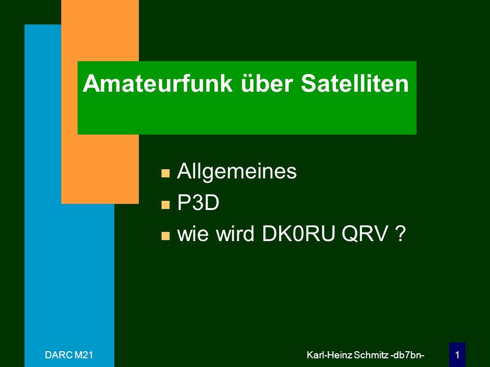 DARC M21 Karl-Heinz Schmitz -db7bn- 31 Zusammenfassung n Möglichkeiten –QSO`s über Satelliten –Telemetrieempfang / -auswertung –Orbits / Himmelsmechanik n Geräte / Antennen / Software –Transceiver, Konverter, Sendemischer –23cm + 13cm Antennen –Bahnberechnung- /Telemetrie-SW