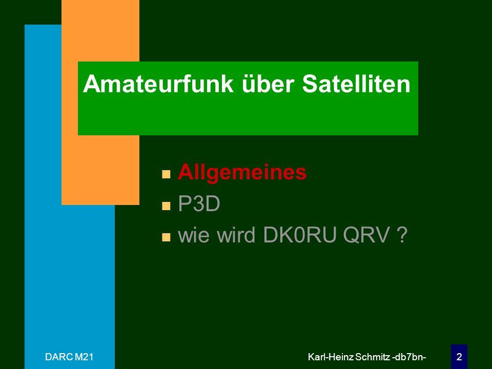 DARC M21 Karl-Heinz Schmitz -db7bn- 12 P3D - Transponder n UpLink UPLINK Digital Analog Passband 15 m none 21.210 - 21.250 MHz 12mnone24.920-24.960 MHz 2 m 145.800 - 145.840 MHz 145.840 - 145.990 MHz 70cm 435.300 - 435.550 MHz 435.550 - 435.800 MHz 23cm(1) 1269.000 - 1269.250 MHz 1269.250 - 1269.500 MHz 23cm(2) 1268.075 - 1268.325 MHz 1268.325 - 1268.575 MHz 13cm(1) 2400.100 - 2400.350 MHz 2400.350 - 2400.600 MHz 13cm(2) 2446.200 - 2446.450 MHz 2446.450 - 2446.700 MHz 6cm 5668.300 - 5668.550 MHz 5668.550 - 5668.800 MHz