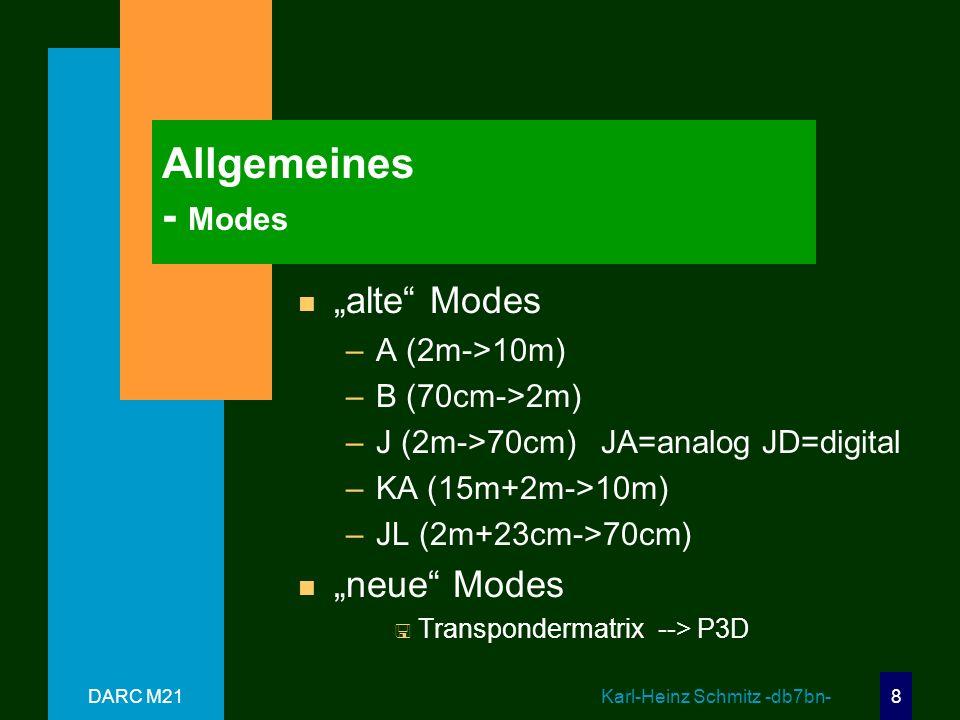 DARC M21 Karl-Heinz Schmitz -db7bn- 8 Allgemeines - Modes n alte Modes –A (2m->10m) –B (70cm->2m) –J (2m->70cm) JA=analog JD=digital –KA (15m+2m->10m) –JL (2m+23cm->70cm) n neue Modes P3D