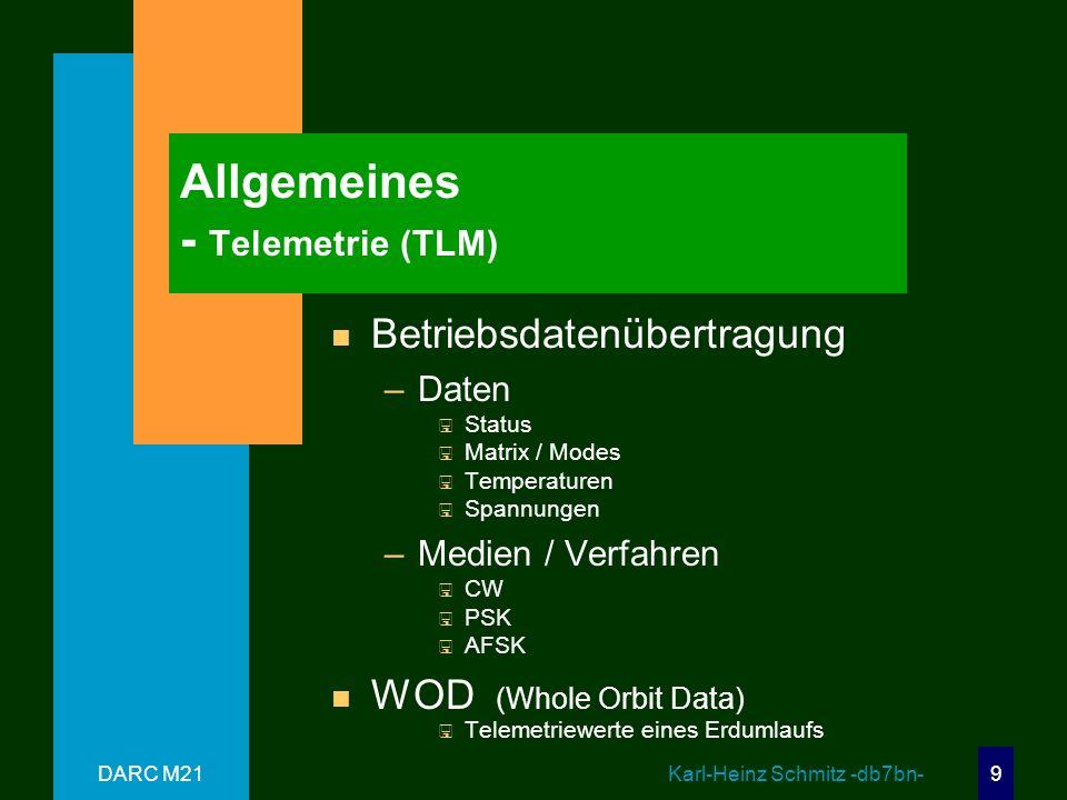 DARC M21 Karl-Heinz Schmitz -db7bn- 9 Allgemeines - Telemetrie (TLM) n Betriebsdatenübertragung –Daten < Status < Matrix / Modes < Temperaturen < Spannungen –Medien / Verfahren < CW < PSK < AFSK n WOD (Whole Orbit Data) < Telemetriewerte eines Erdumlaufs