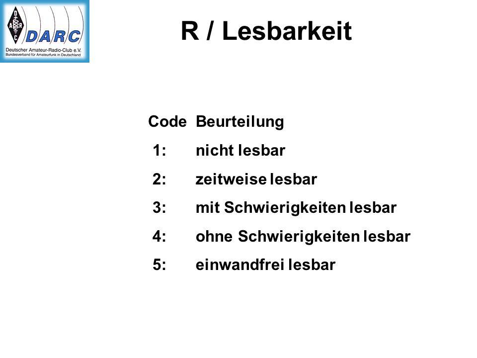 R / Lesbarkeit Code Beurteilung 1: nicht lesbar 2: zeitweise lesbar 3: mit Schwierigkeiten lesbar 4: ohne Schwierigkeiten lesbar 5: einwandfrei lesbar