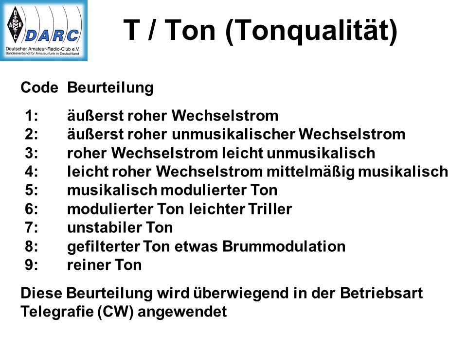 T / Ton (Tonqualität) Code Beurteilung 1: äußerst roher Wechselstrom 2: äußerst roher unmusikalischer Wechselstrom 3: roher Wechselstrom leicht unmusi