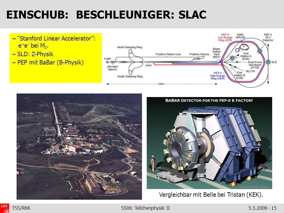 TSS/RKK SS06: Teilchenphysik II5.5.2006 - 15 EINSCHUB: BESCHLEUNIGER: SLAC – Stanford Linear Accelerator: e + e - bei M Z. – SLD: Z-Physik – PEP mit B