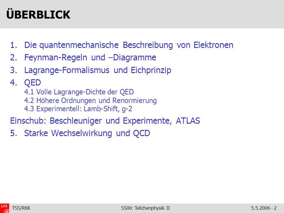TSS/RKK SS06: Teilchenphysik II5.5.2006 - 2 ÜBERBLICK 1.Die quantenmechanische Beschreibung von Elektronen 2.Feynman-Regeln und –Diagramme 3.Lagrange-