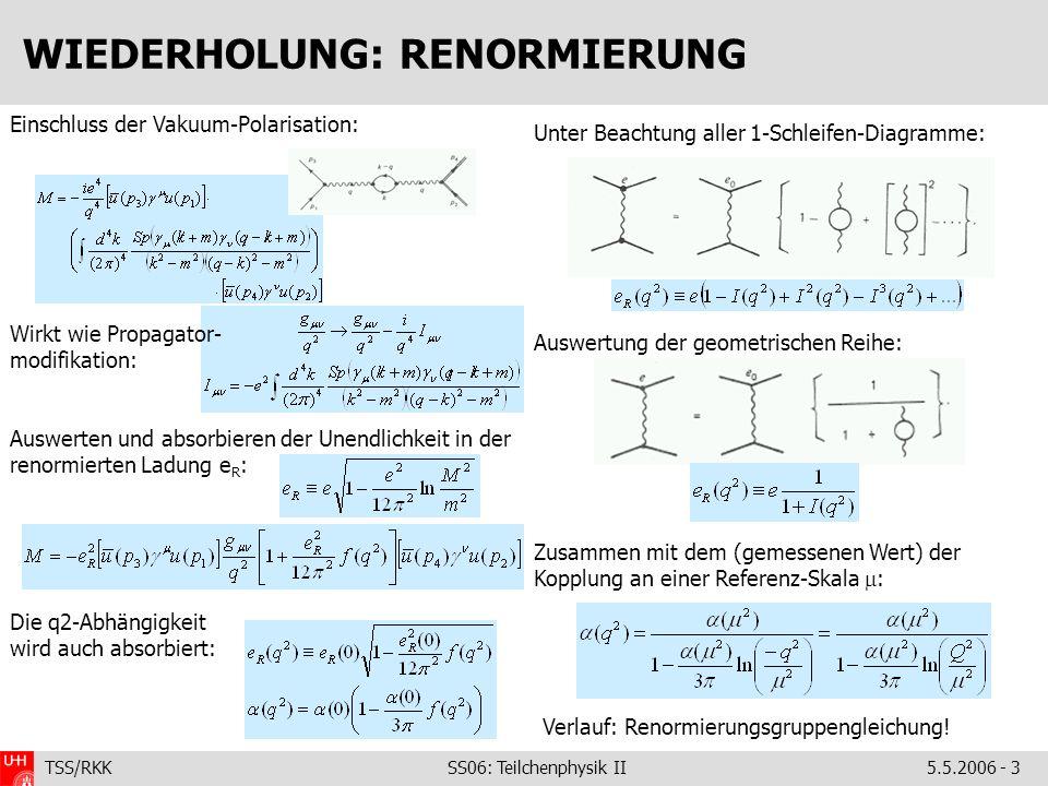 TSS/RKK SS06: Teilchenphysik II5.5.2006 - 3 WIEDERHOLUNG: RENORMIERUNG Unter Beachtung aller 1-Schleifen-Diagramme: Auswertung der geometrischen Reihe