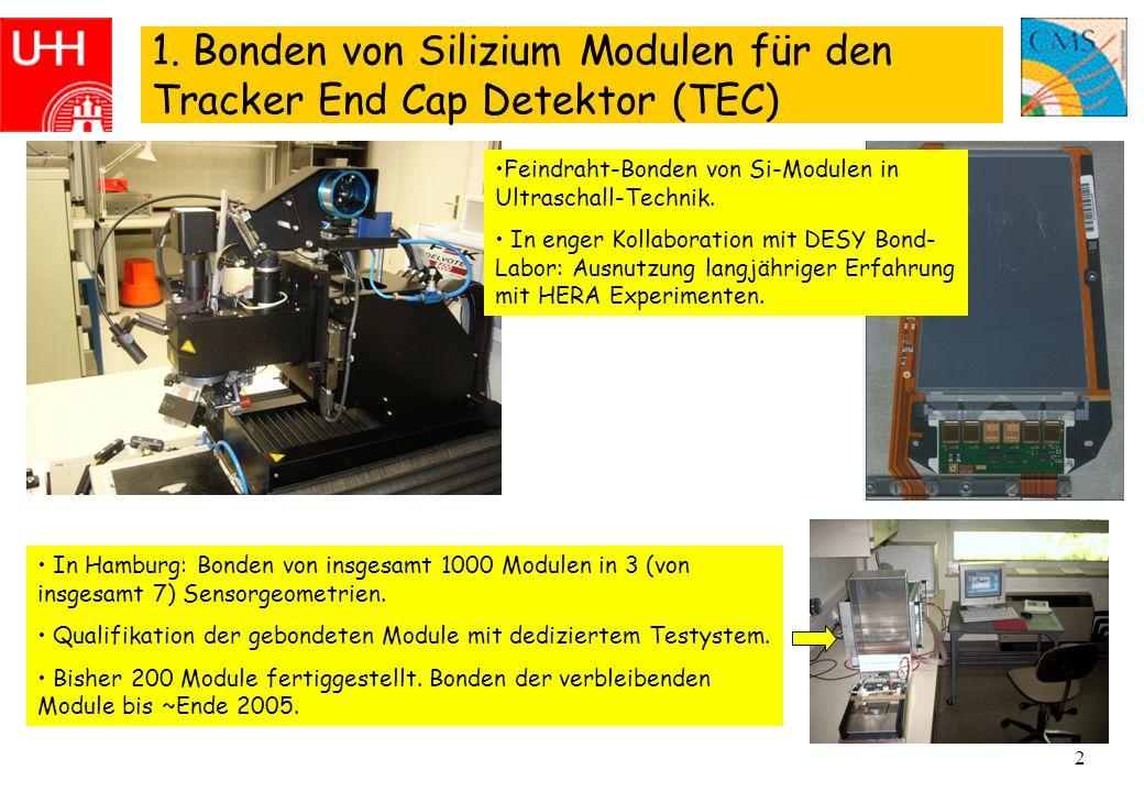 2 1. Bonden von Silizium Modulen für den Tracker End Cap Detektor (TEC) In Hamburg: Bonden von insgesamt 1000 Modulen in 3 (von insgesamt 7) Sensorgeo