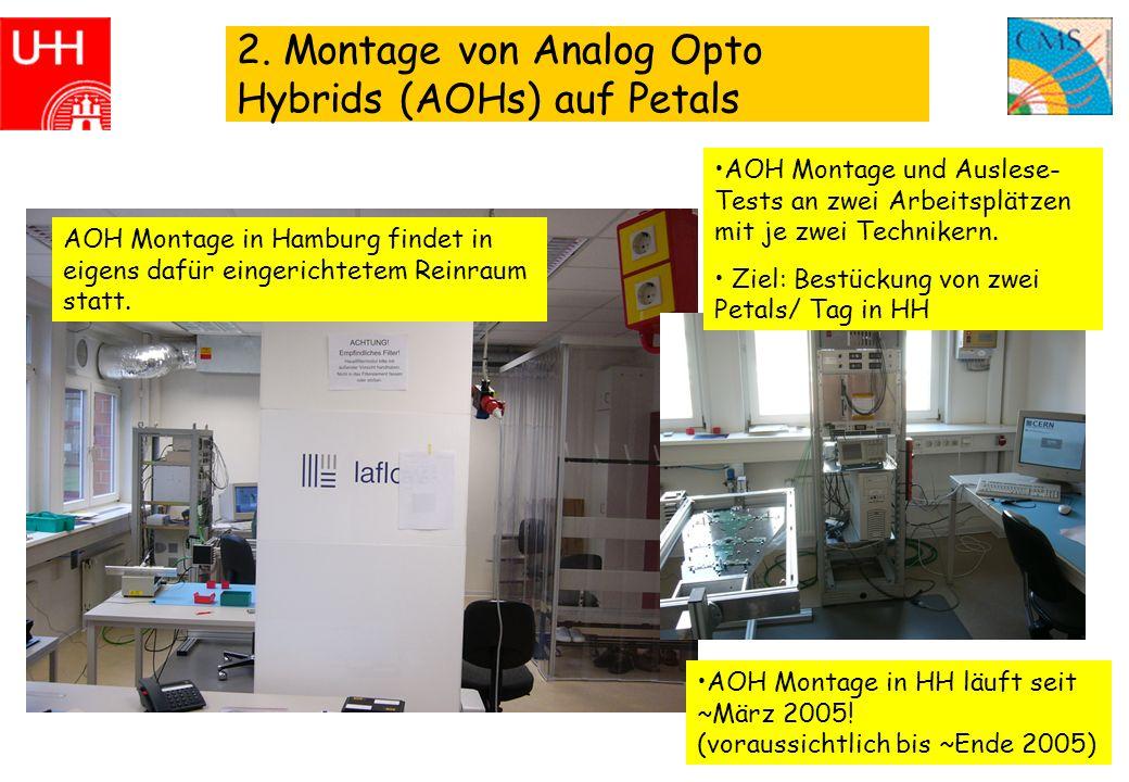 4 2. Montage von Analog Opto Hybrids (AOHs) auf Petals AOH Montage in Hamburg findet in eigens dafür eingerichtetem Reinraum statt. AOH Montage und Au