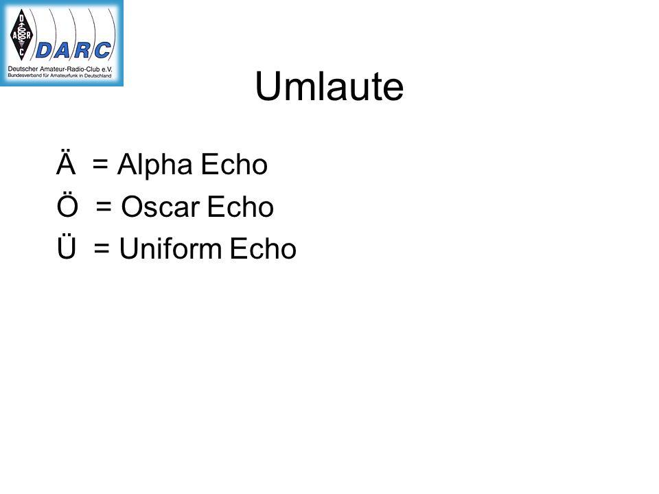 Umlaute Ä = Alpha Echo Ö = Oscar Echo Ü = Uniform Echo