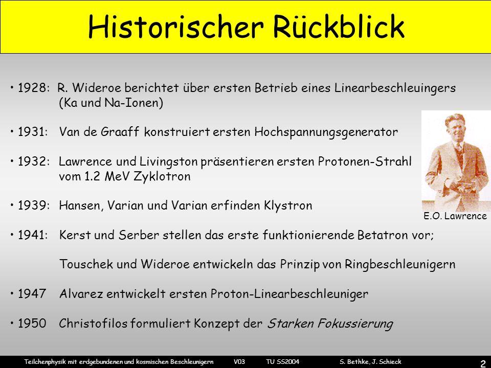 Teilchenphysik mit erdgebundenen und kosmischen Beschleunigern V03 TU SS2004 S. Bethke, J. Schieck 2 Historischer Rückblick 1928: R. Wideroe berichtet