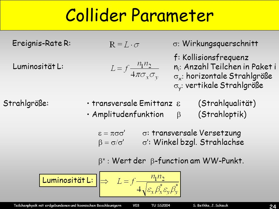 Teilchenphysik mit erdgebundenen und kosmischen Beschleunigern V03 TU SS2004 S. Bethke, J. Schieck 24 Collider Parameter Ereignis-Rate R: Wirkungsquer