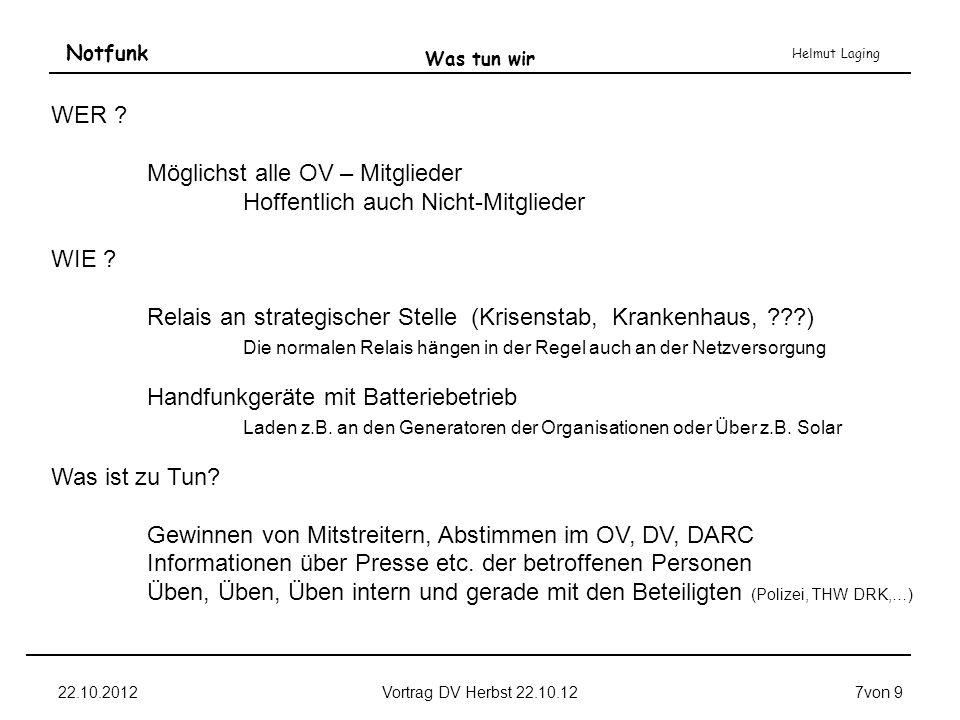 Notfunk Helmut Laging 22.10.2012Vortrag DV Herbst 22.10.127von 9 Was tun wir WER ? Möglichst alle OV – Mitglieder Hoffentlich auch Nicht-Mitglieder WI