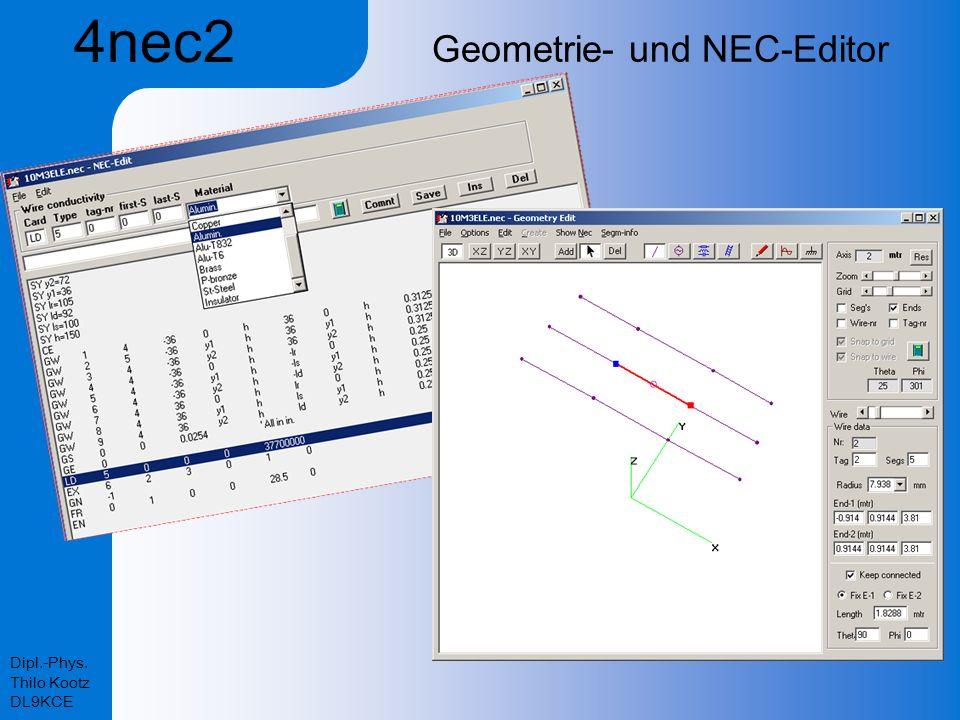 Dipl.-Phys. Thilo Kootz DL9KCE Geometrie- und NEC-Editor 4nec2