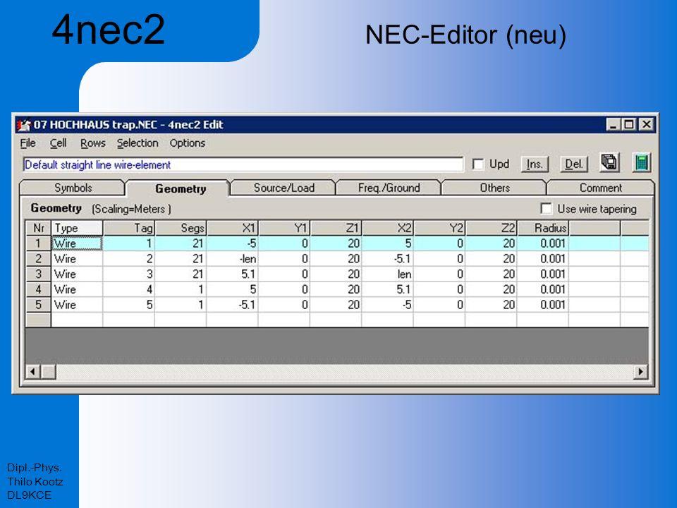 Dipl.-Phys. Thilo Kootz DL9KCE NEC-Editor (neu) 4nec2