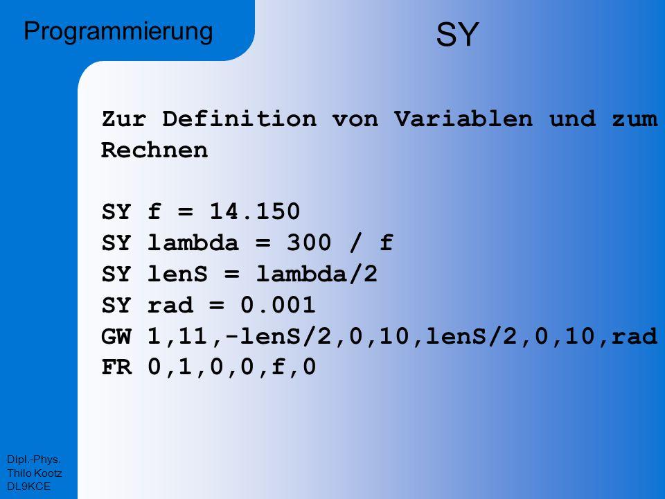 Dipl.-Phys. Thilo Kootz DL9KCE SY Programmierung Zur Definition von Variablen und zum Rechnen SY f = 14.150 SY lambda = 300 / f SY lenS = lambda/2 SY