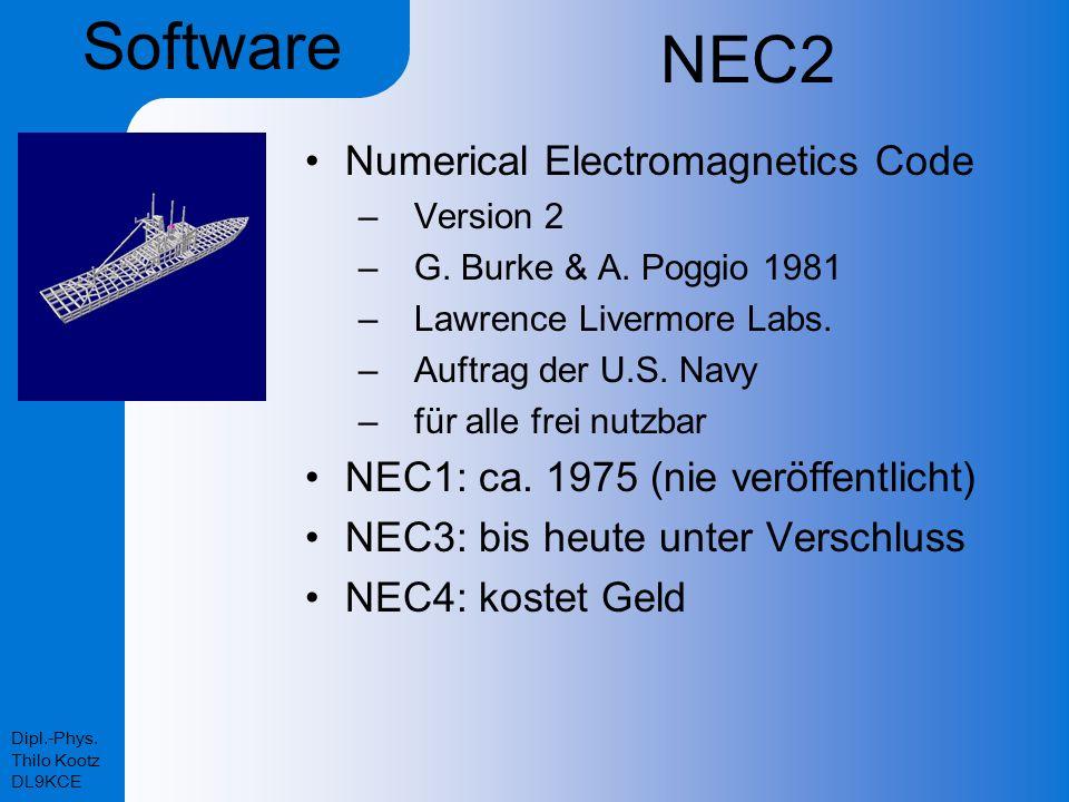 Dipl.-Phys. Thilo Kootz DL9KCE NEC2 Numerical Electromagnetics Code –Version 2 –G. Burke & A. Poggio 1981 –Lawrence Livermore Labs. –Auftrag der U.S.