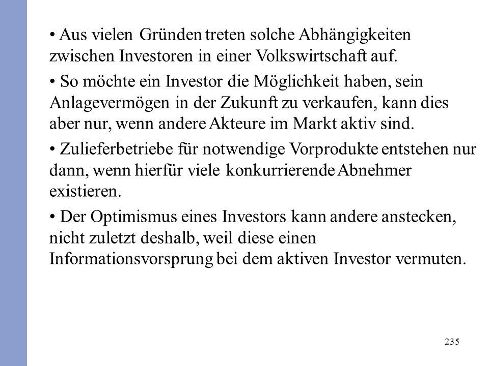 235 Aus vielen Gründen treten solche Abhängigkeiten zwischen Investoren in einer Volkswirtschaft auf. So möchte ein Investor die Möglichkeit haben, se