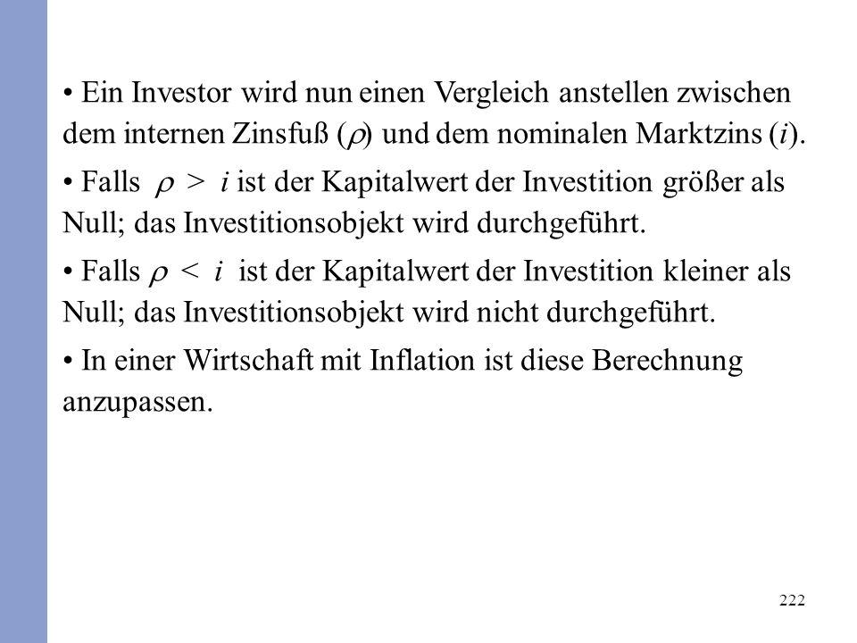 222 Ein Investor wird nun einen Vergleich anstellen zwischen dem internen Zinsfuß ( ) und dem nominalen Marktzins (i).
