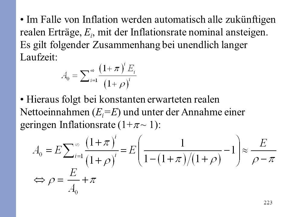223 Im Falle von Inflation werden automatisch alle zukünftigen realen Erträge, E i, mit der Inflationsrate nominal ansteigen. Es gilt folgender Zusamm