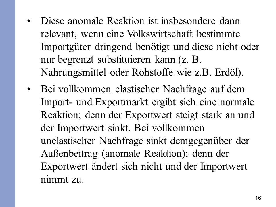 16 Diese anomale Reaktion ist insbesondere dann relevant, wenn eine Volkswirtschaft bestimmte Importgüter dringend benötigt und diese nicht oder nur b